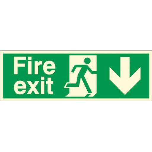 Fire exit - Running man - Down arrow (Photoluminescent)