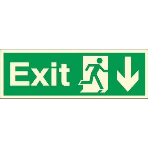 Exit - Running man - Down arrow (Photoluminescent)