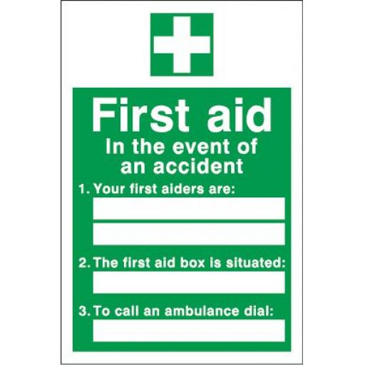 First aid In the event of an accident 1. 2. 3.