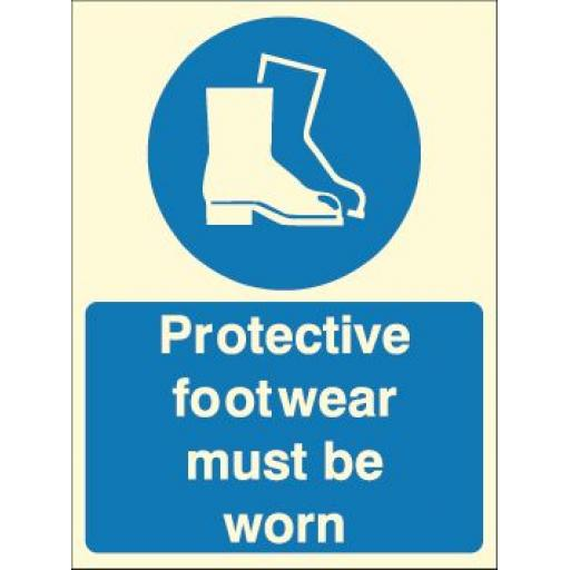 Protective footwear must be worn (Photoluminescent)