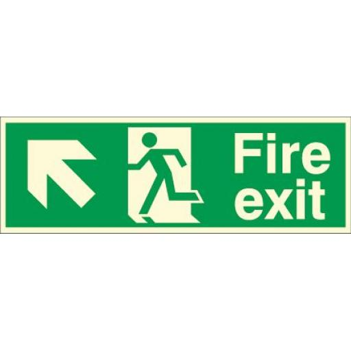 Fire exit - Running man - Left up arrow (Photoluminescent)