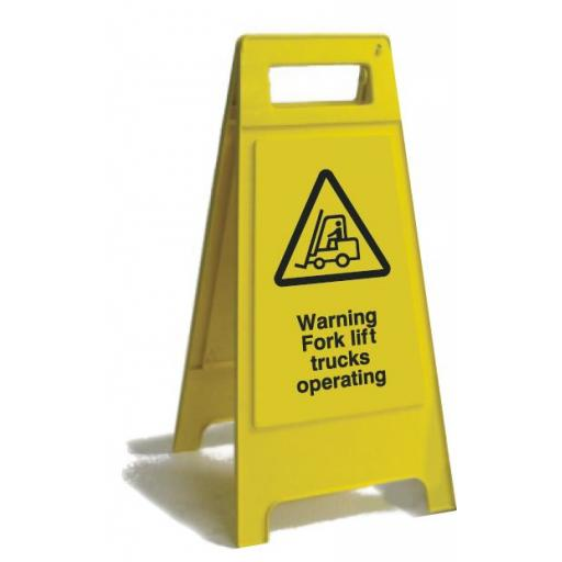 Warning Fork lift trucks operating