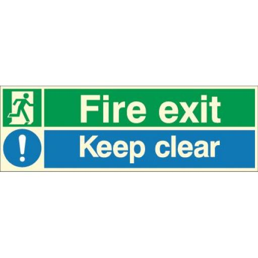 Fire exit - Running man - Keep clear (Photoluminescent)