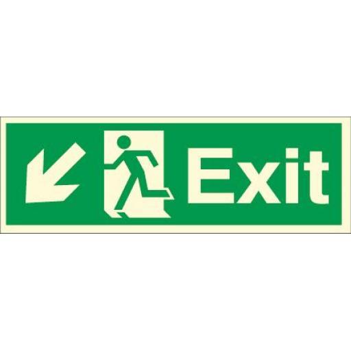Exit - Running man - Down left arrow (Photoluminescent)