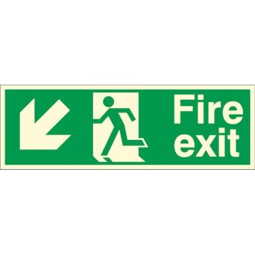 Fire exit - Running man - Down left arrow (Photoluminescent)