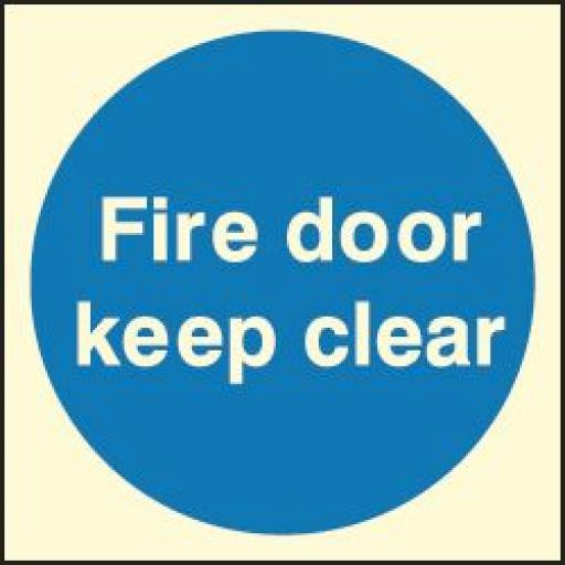 Fire door keep clear (Photoluminescent)