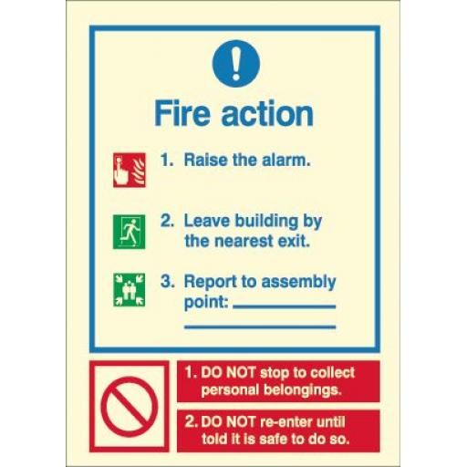Fire Action - Report to assembly point (Photoluminescent)