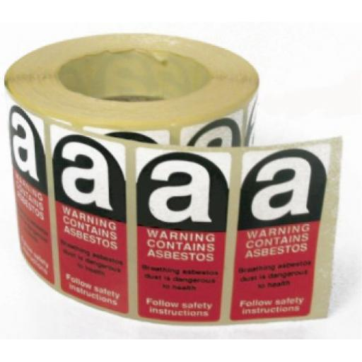 Asbestos label - Roll of 250