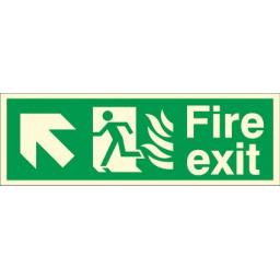 Fire exit - Flame - Running man - Up left arrow (Photoluminescent)