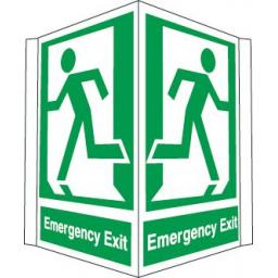 Emergency exit - Running man left and right (Projecting sign)