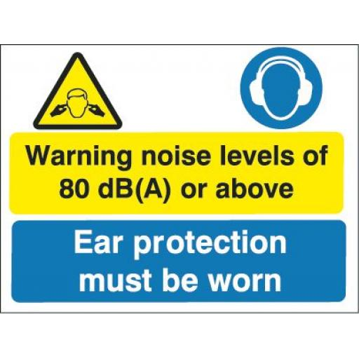 Warning noise levels of 80db(A) or above