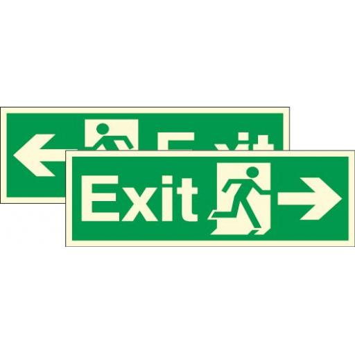 Exit - Running man - Right / left arrow (Double sided) (Photoluminescent)