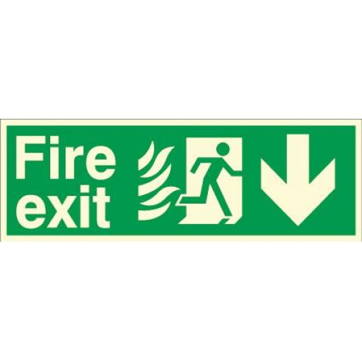 Fire exit - Flame - Running man - Down arrow (Photoluminescent)