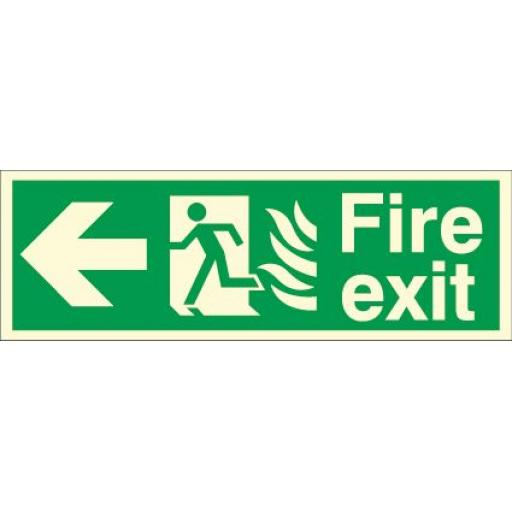 Fire exit - Flame - Running man - Left arrow (Photoluminescent)