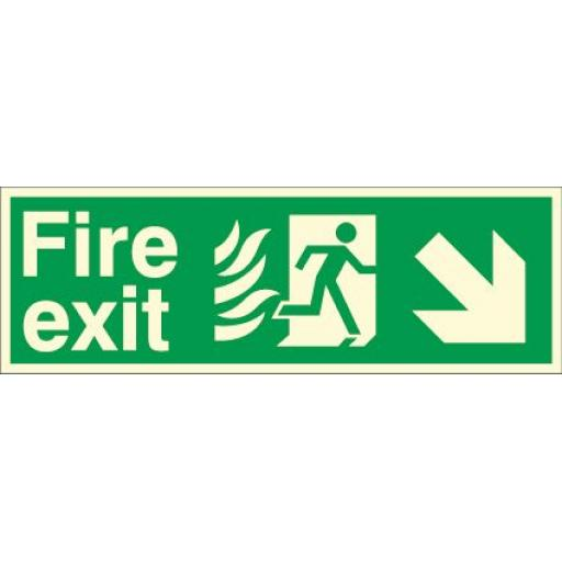 Fire exit - Flame - Running man - Down right arrow (Photoluminescent)