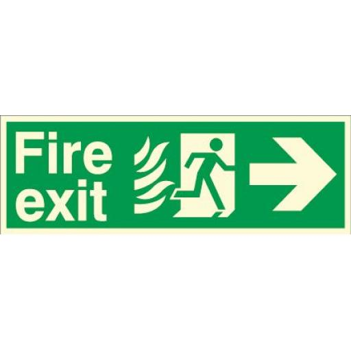 Fire exit - Flame - Running man - Right arrow (Photoluminescent)