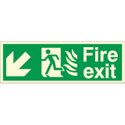 Fire exit - Flame - Running man - Down left arrow (Photoluminescent)