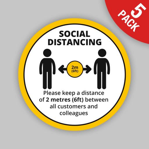Keep a Distance (Yellow Round) - Floor Graphics (bulk pack)