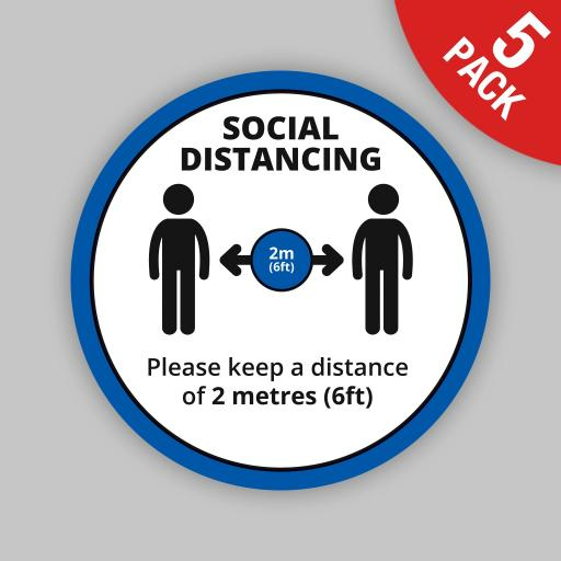 Keep a Distance (Blue Round) - Floor Graphics (bulk pack)